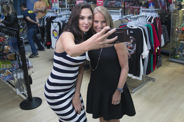<p>Actress Gal Gadot takes a selfie with Yahoo Global News Anchor Katie Couric following an interview at the Midtown Comics in New York City on May 23, 2017. (Gordon Donovan/Yahoo News) </p>