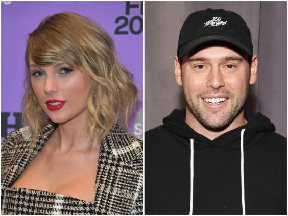 Taylor Swift and Scooter Braun (Neilson Barnard/Michael Tran/Getty Images)