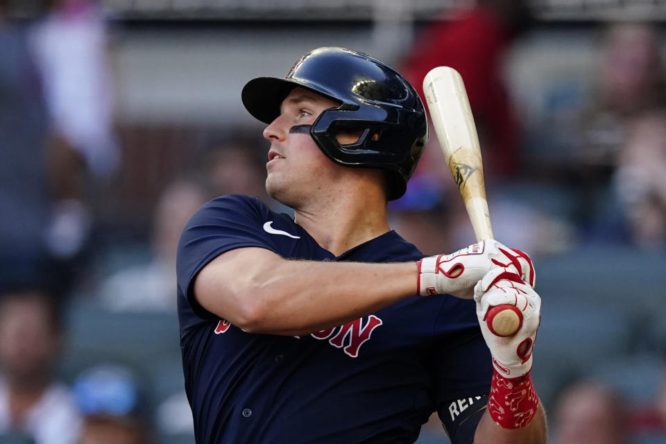 Boston Red Sox right fielder Hunter Renfroe drives in two runs with a base hit in the first inning of a baseball against the Atlanta Braves game Wednesday, June 16, 2021, in Atlanta. (AP Photo/John Bazemore)