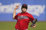 Cleveland Indians starting pitcher Cal Quantrill delivers in the first inning of a baseball game against the Kansas City Royals, Monday, Sept. 27, 2021, in Cleveland. (AP Photo/Tony Dejak)