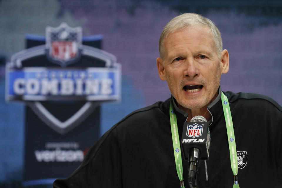 "FILE - In this Feb. 25, 2020, file photo, Las Vegas Raiders general manager Mike Mayock speaks during a news conference at the NFL football scouting combine in Indianapolis. Las Vegas Raiders general manager Mike Mayock says the ""jury is still out"" on whether highly paid right tackle Trent Brown will be back in 2021 after being limited by injuries in his first two seasons with the team. (AP Photo/Charlie Neibergall, File)"