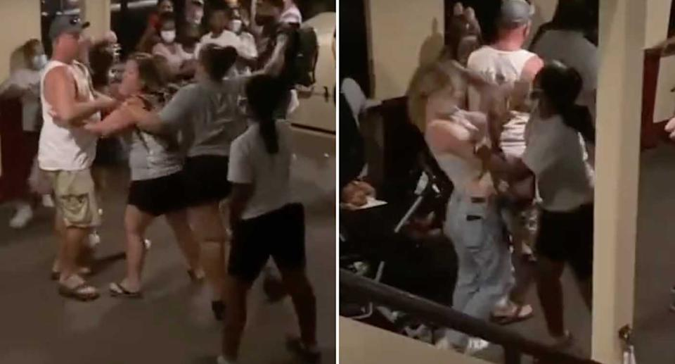 People are filmed fighting on the ferry at Disney World in Florida.