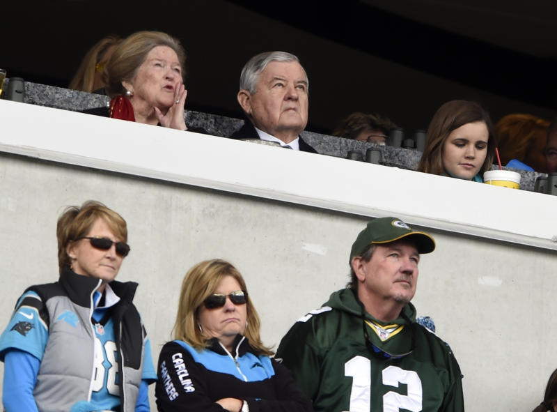 Carolina Panthers owner Jerry Richardson, top center, watches Sunday's game against the Packers. (AP)