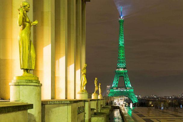 PHOTO: The Eiffel Tower is illuminated in green to celebrate the ratification of the climate change agreement, COP21,  in Paris, Nov. 4, 2016. (Anadolu Agency via Getty Images, FILE)