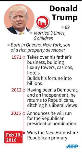Profile of Donald Trump, running for the Republican presidential nomination (AFP Photo/Paul Defosseux, Kun Tian)