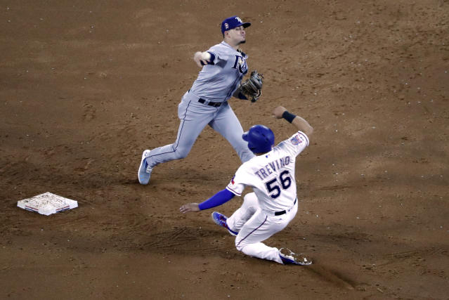 Tampa Bay Rays shortstop Willy Adames throws to first after forcing Texas Rangers' Jose Trevino at second in the first inning of a baseball game in Arlington, Texas, Wednesday, Sept. 11, 2019. The Rangers Shin-Soo Choo was safe at first on the play. (AP Photo/Tony Gutierrez)