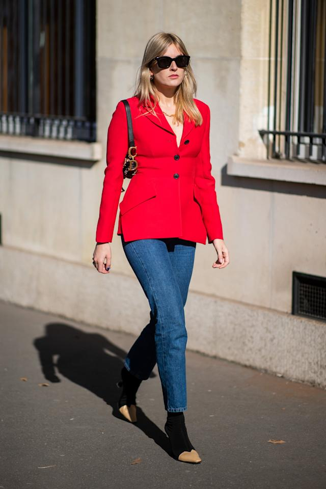 <p>Whether you're a color lover or more bright-hued shy, skinny jeans are just the gateway you need to rock that bright red jacket or blazer this season.</p>
