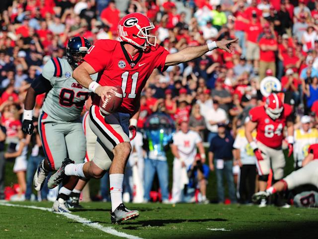 ATHENS, GA - NOVEMBER 3: Aaron Murray #11 of the Georgia Bulldogs passes against the Ole Miss Rebels at Sanford Stadium on November 3, 2012 in Athens, Georgia. (Photo by Scott Cunningham/Getty Images)