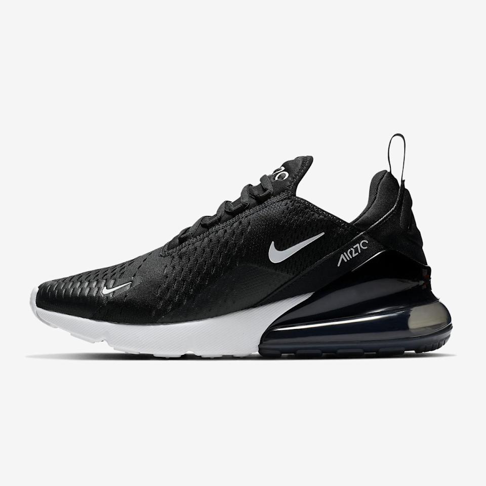 "The Air Max 270 needs no introduction. The foam sole is clearly super <em>thicc</em> but the shoe is actually pretty lightweight so you can walk for hours in these without slightest bit of discomfort. Those extra few inches don't hurt either. $150, Nike. <a href=""https://www.nike.com/t/air-max-270-womens-shoe-Pgb94t/AH6789-001"" rel=""nofollow noopener"" target=""_blank"" data-ylk=""slk:Get it now!"" class=""link rapid-noclick-resp"">Get it now!</a>"