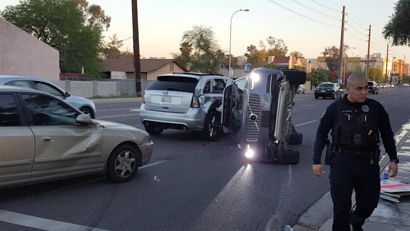 Smash: Uber's self-driving cars have been pulled after one of its vehicles was involved in a crash: REUTERS