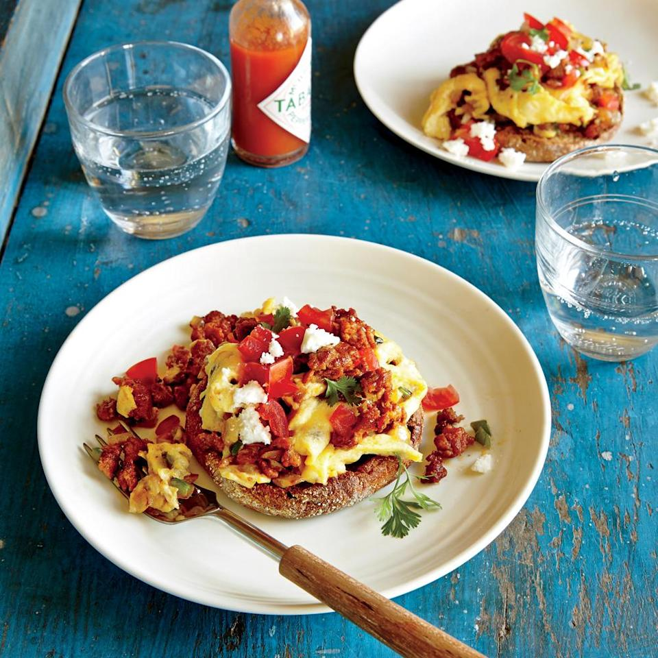 """<p>The eggs will continue to set even after being removed from the heat, so be careful not to overcook. Serve with <a href=""""https://www.myrecipes.com/extracrispy/history-of-hot-sauce-america"""" rel=""""nofollow noopener"""" target=""""_blank"""" data-ylk=""""slk:hot sauce"""" class=""""link rapid-noclick-resp"""">hot sauce</a> for an extra kick.</p>"""