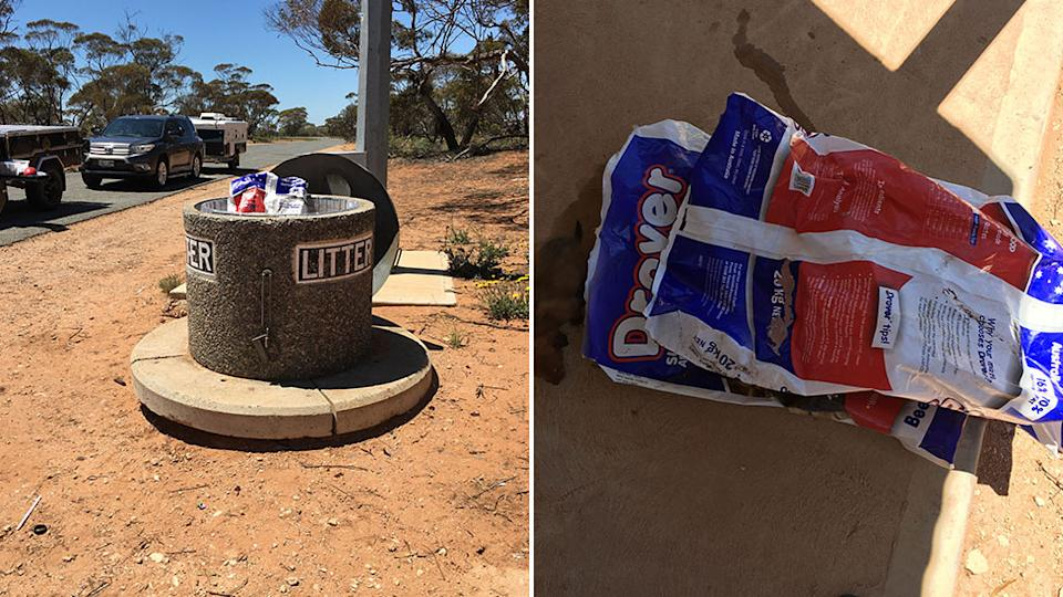 The dogs were found in dog food bags, in a bin, on the side of the road. Source: RSPCA SA