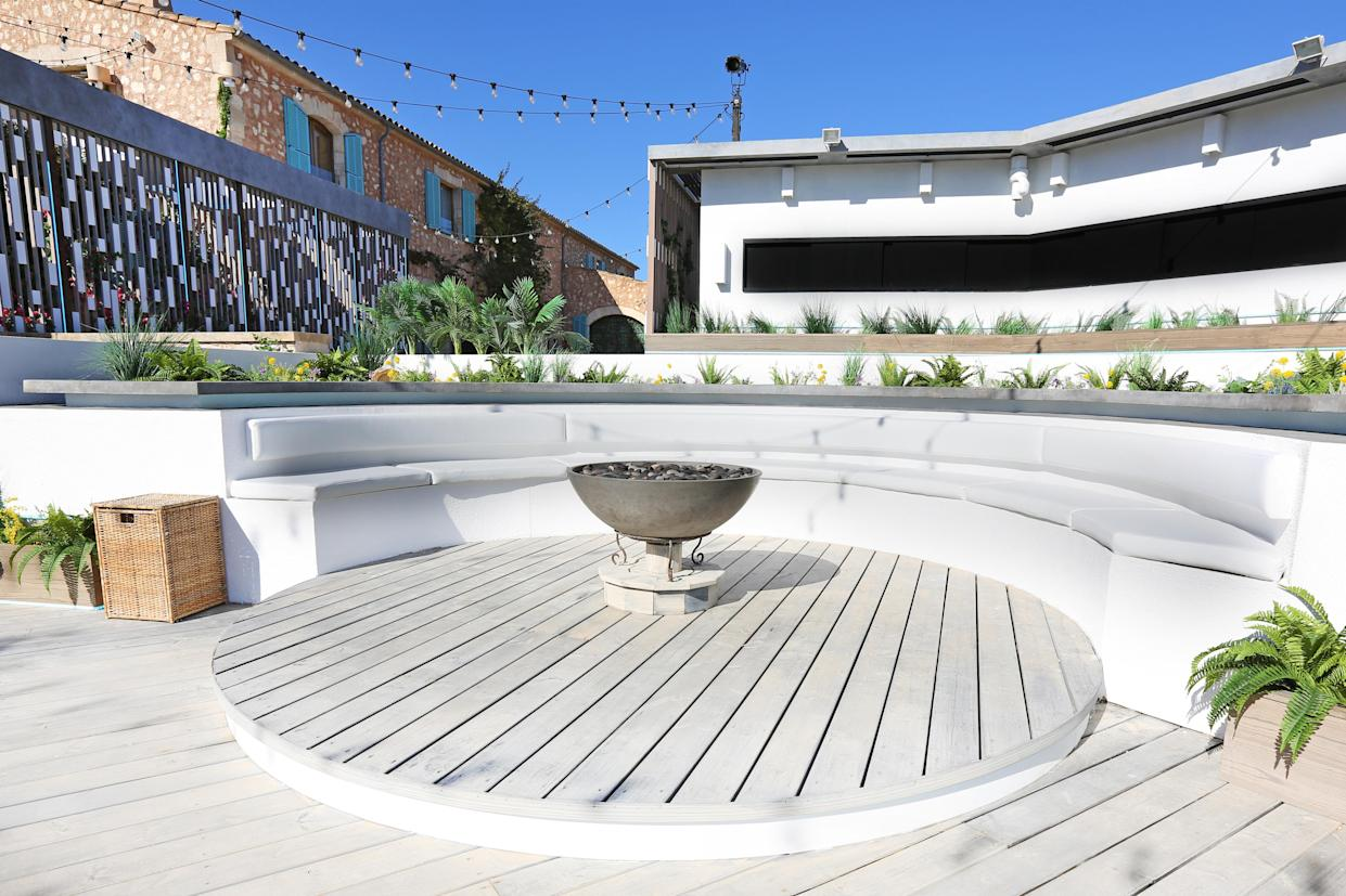 A fire pit takes centre stage in the 'Love Island' garden area. (ITV)