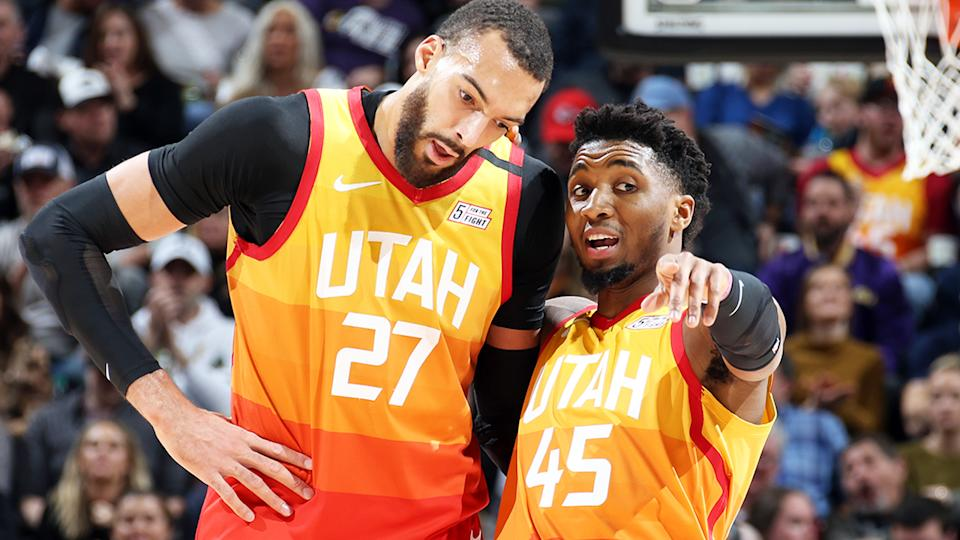 Rudy Gobert and Donovan Mitchell, pictured here in action for the Utah Jazz.