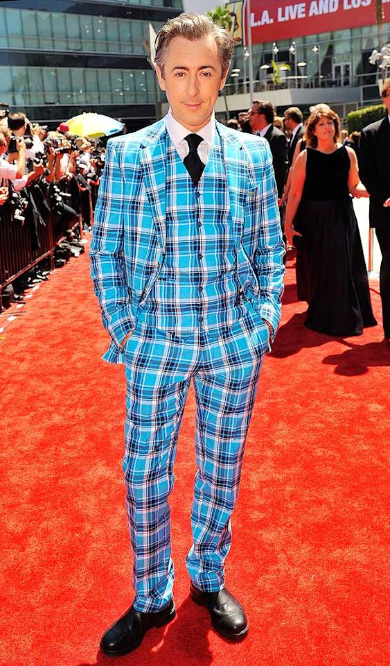 "We appreciate Alan Cumming's willingness to take a risk on the red carpet at this year's Creative Arts Emmys; we just wish that risk hadn't included this splashy, plaid suit. Mathew Imaging/<a href=""http://www.wireimage.com"" target=""new"">WireImage.com</a> - August 21, 2010"