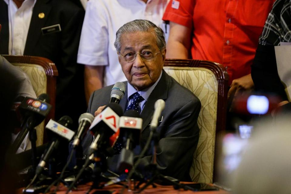 Tun Dr Mahathir speaks during a Bersatu press conference in Perdana Leadership Foundation in Putrajaya July 15, 2019. — Picture by Ahmad Zamzahuri