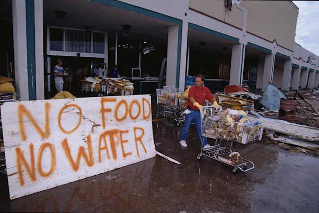 <p>A grocery store posts a sign letting victims of Hurricane Andrew know that they are out of food and water. (Steve Starr/CORBIS/Corbis via Getty Images) </p>