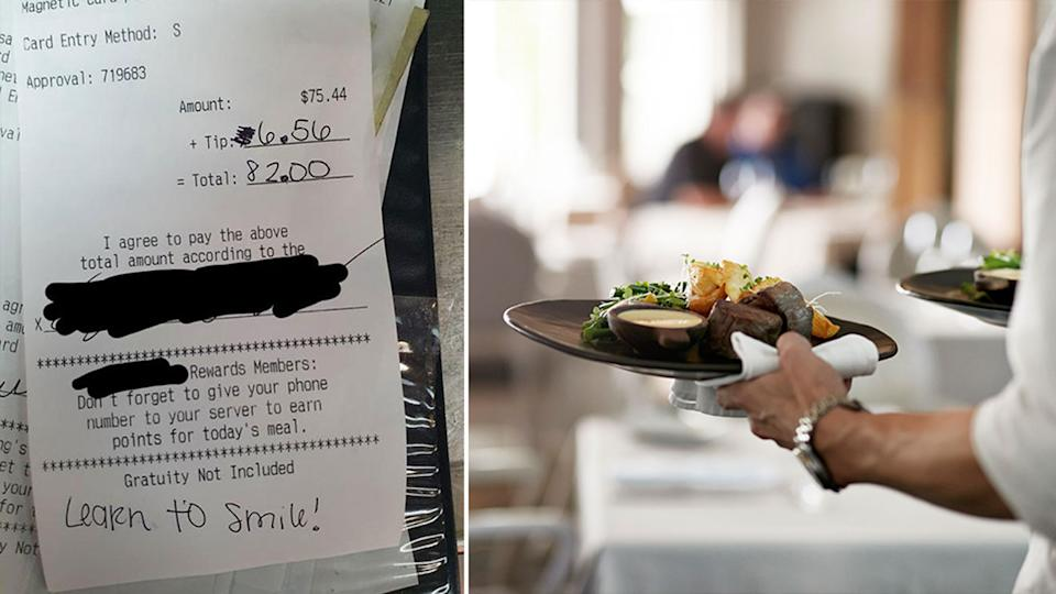 A waiter was left with two tips, neither of which impressed him. Source: Reddit/Getty Images