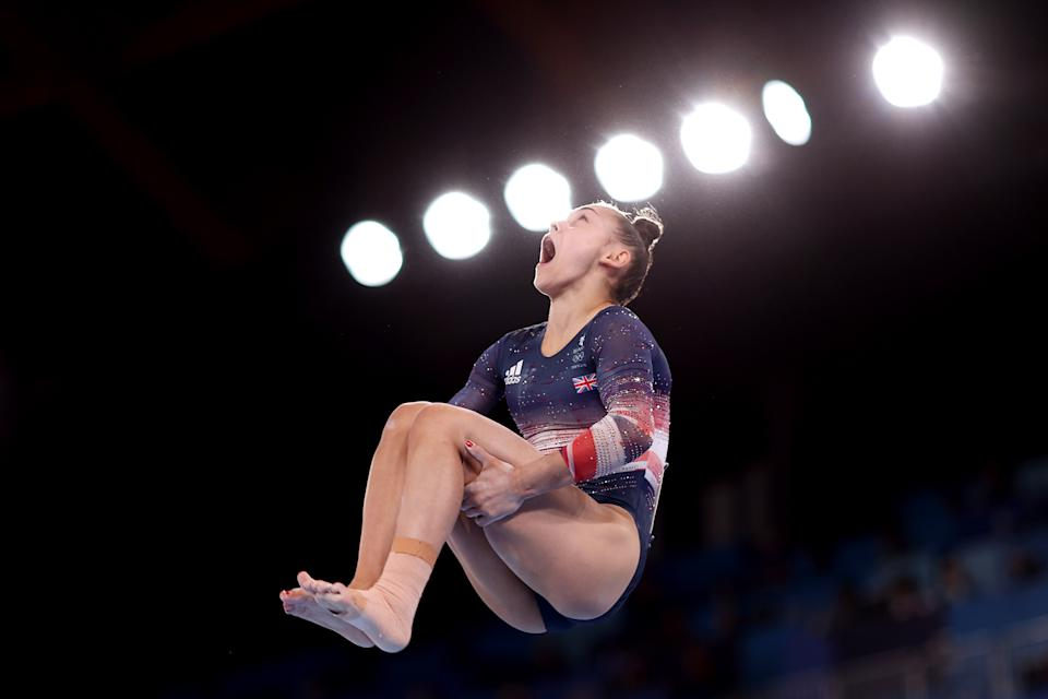 <p>TOKYO, JAPAN - JULY 29: Jennifer Gadirova of Team Great Britain competes on balance beam during the Women's All-Around Final on day six of the Tokyo 2020 Olympic Games at Ariake Gymnastics Centre on July 29, 2021 in Tokyo, Japan. (Photo by Julian Finney/Getty Images)</p>