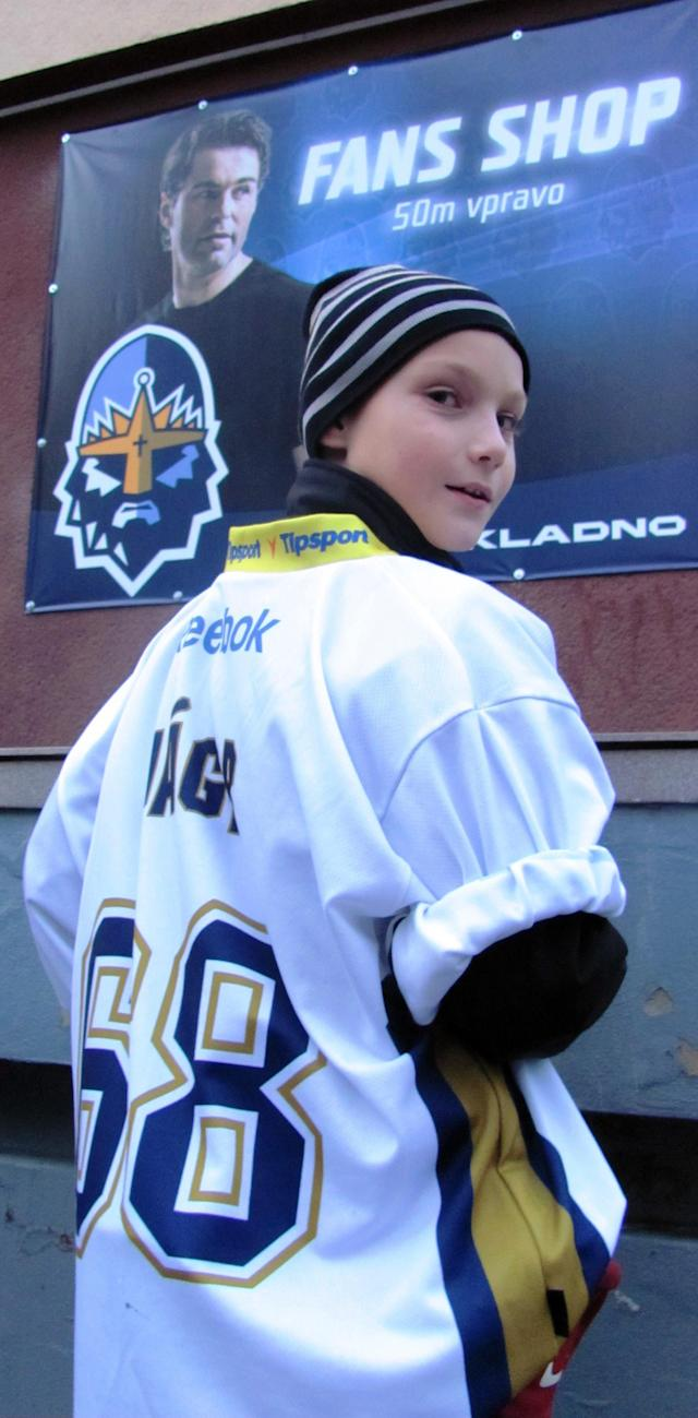 Young Kladno fan in Jagr jersey. (#NickInEurope)