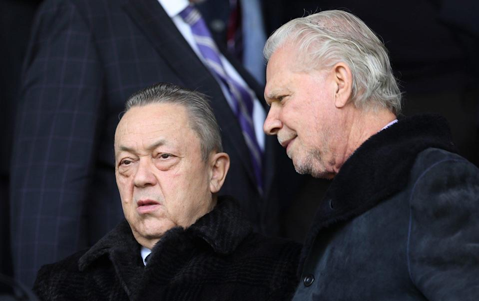 David Sullivan, West Ham owner and David Gold, West Ham chairman look on during the Premier League match between Burnley and West Ham United at Turf Moor on May 21, 2017 in Burnley, England - Getty Images Europe