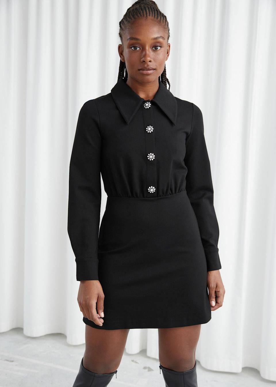"""<h2>& Other Stories</h2><br>Lovers of vintage will do a double-take — as we did — when they lay eyes on this perfectly-proportioned 1960s-inspired minidress, complete with sparkly buttons and a pointed collar. That's what we (and our readers) love about Stories, H&M's cooler-cousin shop — with design outposts in Stockholm, Paris, and Los Angeles, the store's offerings are just a little bit more offbeat and experimental that some of its mainstream competition.<br><br><strong>& Other Stories</strong> Structured Diamanté Button Mini Dress, $, available at <a href=""""https://go.skimresources.com/?id=30283X879131&url=https%3A%2F%2Fwww.stories.com%2Fen_usd%2Fclothing%2Fdresses%2Fmini-dresses%2Fproduct.structured-diamant%25C3%25A9-button-mini-dress-black.0938896001.html"""" rel=""""nofollow noopener"""" target=""""_blank"""" data-ylk=""""slk:& Other Stories"""" class=""""link rapid-noclick-resp"""">& Other Stories</a>"""