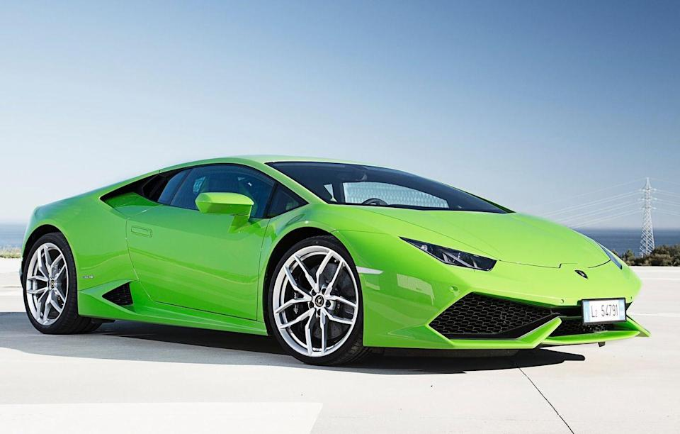 <p>The junior Lambo doesn't have scissor doors, but its naturally aspirated V10 makes it every bit as quick as its big brother, the Aventador.</p>
