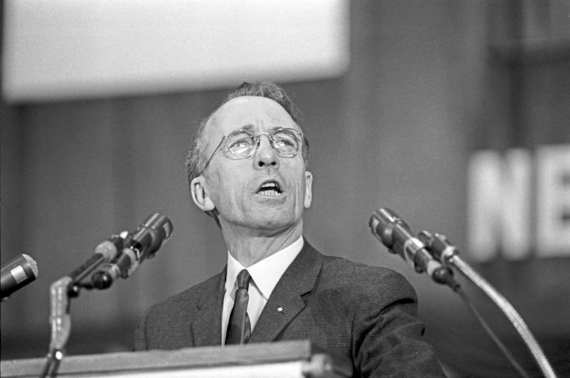 Tommy Douglas speaks at a New Democratic Party of Canada rally at Maple Leaf Gardens in Toronto on March 29, 1963. (Photo: The Canadian Press)