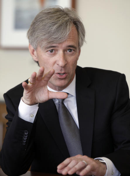 John Krafcik, president and CEO of Hyundai Motor America, is interviewed by the Associated Press, in New York, Tuesday, April 3, 2012. (AP Photo/Richard Drew)