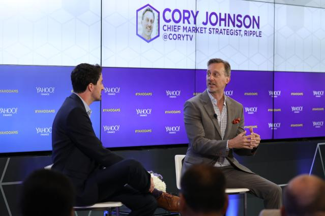 Ripple chief market strategist Cory Johnson (R) speaks to Yahoo Finance's Daniel Roberts at All Markets Summit: Crypto in San Francisco on June 14, 2018. (Photo: Jeremy Waldorph/Oath)