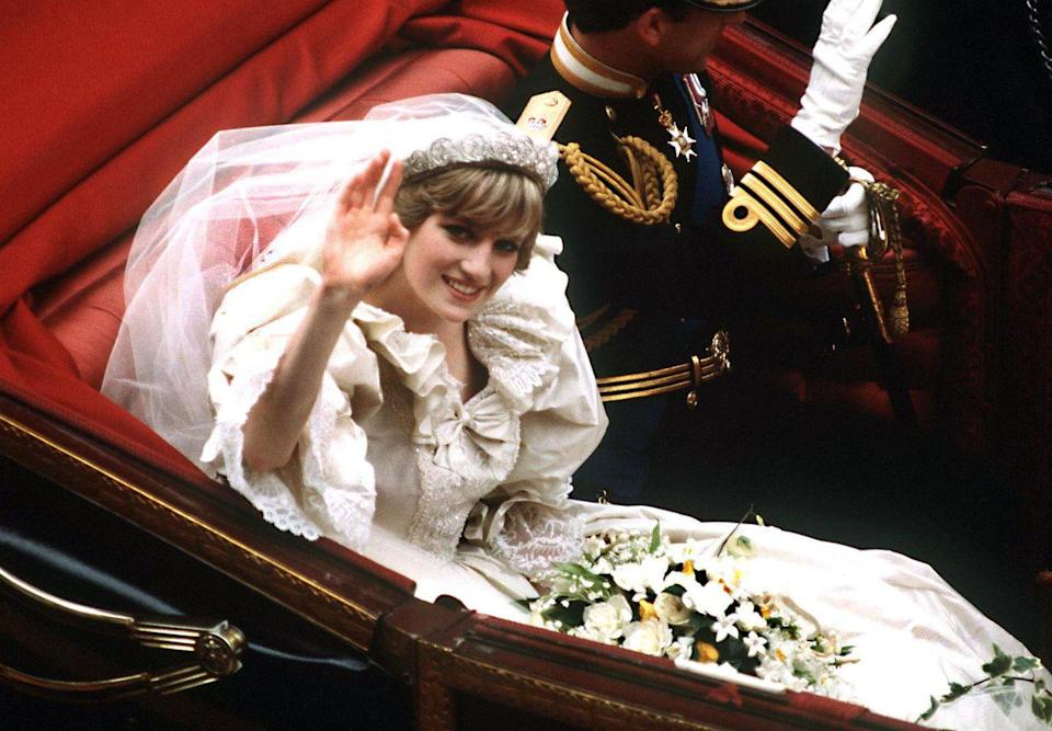 "<p><a href=""https://www.goodhousekeeping.com/life/a22800162/princess-diana-brother-father-rare-photo/"" rel=""nofollow noopener"" target=""_blank"" data-ylk=""slk:The Spencer family"" class=""link rapid-noclick-resp"">The Spencer family</a> had some pretty good bling of its own, as evidenced by the fact that Diana wore her own family's iconic headpiece <a href=""https://www.goodhousekeeping.com/life/a22727712/princess-diana-engagement-ring/"" rel=""nofollow noopener"" target=""_blank"" data-ylk=""slk:on her wedding day in 1981"" class=""link rapid-noclick-resp"">on her wedding day in 1981</a>. </p>"