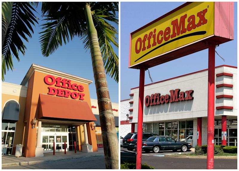 In this combination of Associated Press file photos, an Office Depot is pictured in Miami, left, Wednesday, Feb. 14, 2007, and an OfficeMax store is shown in Philadelphia Wednesday, Aug. 3, 2006, right. Office Depot and OfficeMax announced Wednesday, Feb. 20, 2013, that they are being collated.  The retailers said Wednesday they have agreed to combine in an all-stock deal worth about $1.2 billion that would transform the office-supply retail sector, helping the No. 2 and No. 3 chains compete against industry behemoth Staples. (AP Photo/File)