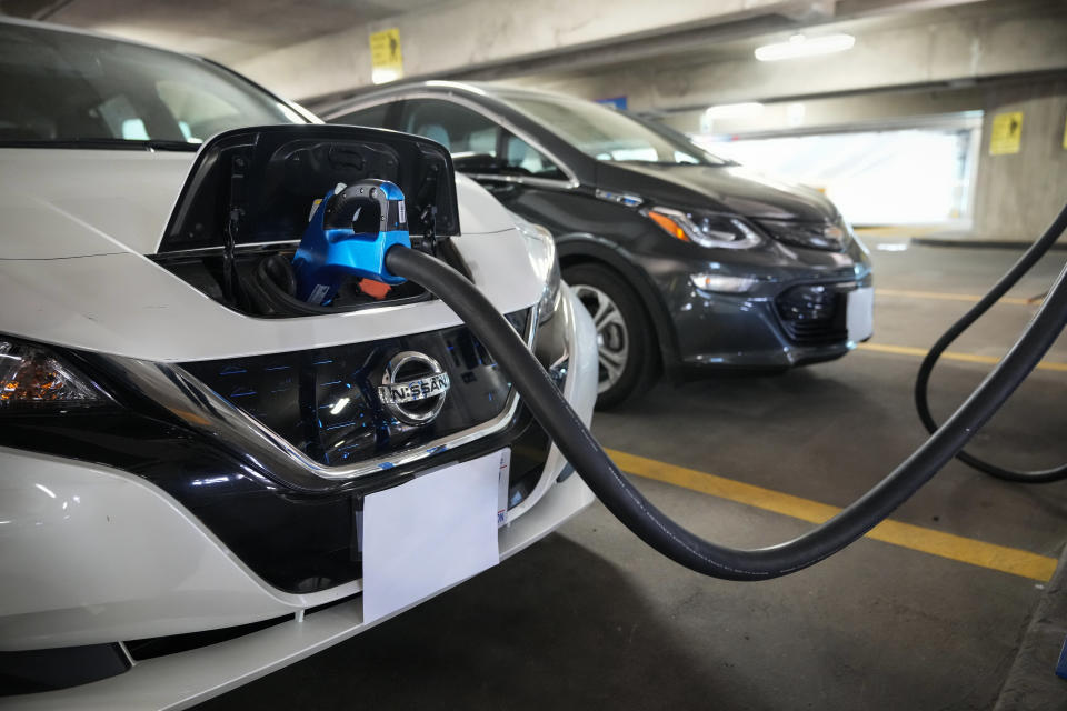 WASHINGTON, DC - APRIL 22: Electric vehicles are displayed before a news conference with White House Climate Adviser Gina McCarthy and U.S. Secretary of Transportation Pete Buttigieg about the American Jobs Plan and to highlight electric vehicles at Union Station near Capitol Hill on April 22, 2021 in Washington, DC. The Biden administration has proposed over $170 billion in spending to boost the production of zero-emission buses and cars and increase the number of EV charging stations. (Photo by Drew Angerer/Getty Images)