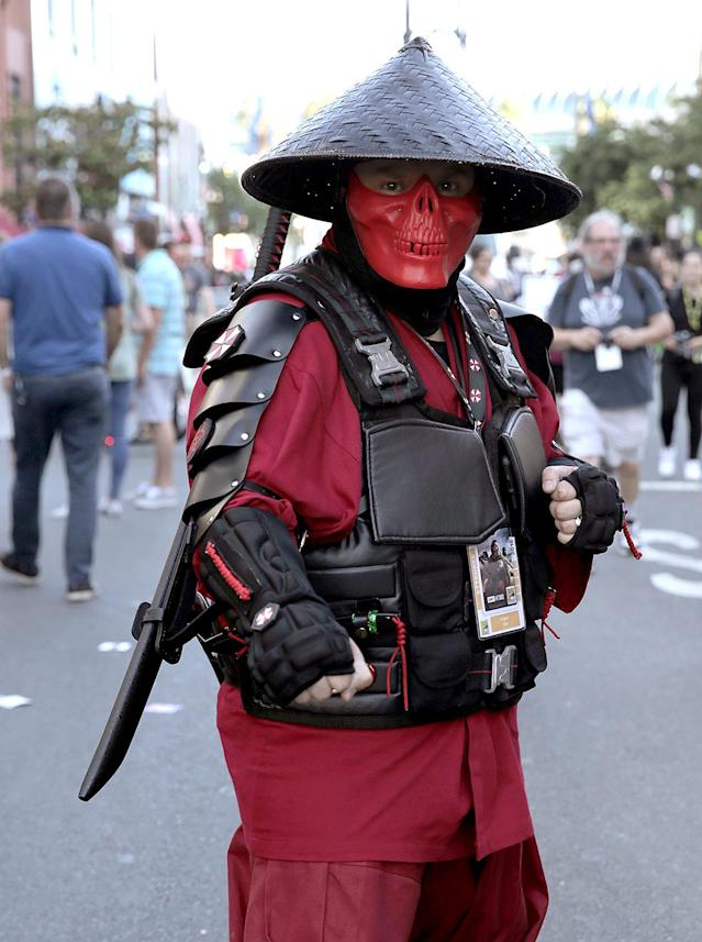 <p>Cosplayer dressed as a Mortal Kombat character at Comic-Con International on July 19, 2018, in San Diego. (Photo: Quinn P. Smith/Getty Images) </p>