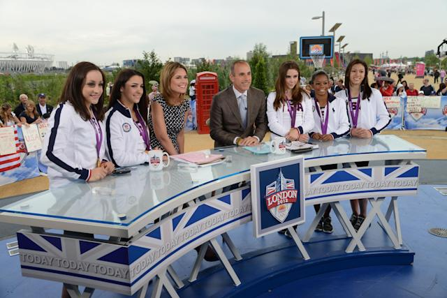 TODAY -- Pictured: (l-r) Jordyn Wieber, Aly Raisman, Savannah Guthrie, Matt Lauer, McKayla Maroney, Gabby Douglas, Kyla Ross -- Photo by: (Dave Hogan/NBC)