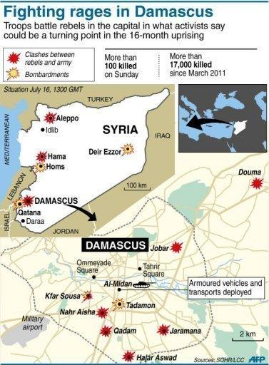 """Map locating violence in the Syrian capital and across the country. Rebels declared the battle to """"liberate"""" Damascus has begun as heavy fighting raged across the city on Tuesday and Russia said an agreement is possible for a UN resolution on the Syria crisis"""