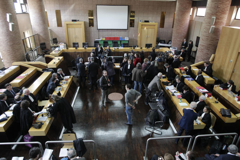 A general view of the court room at the courthouse in Versailles, west of Paris, Thursday, March 8, 2012. Continental Airlines, French officials and mechanics are going back on trial over the 2000 crash of a Concorde supersonic jet, which killed 113 people. A faulty metal strip on a Continental DC-10 fell onto the runway, puncturing the Concorde's tire, sending bits of rubber into the fuel tanks and starting the fire that brought down the plane and sent it crashing into a hotel outside Paris. (AP Photo/Michel Euler)