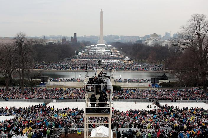 <p>People gather on the National Mall on Inauguration Day January 20, 2017 in Washington, DC. (Photo: Scott Olson/Getty Images) </p>