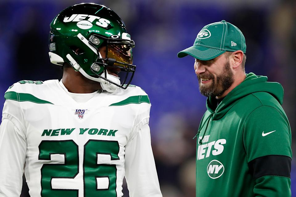 Jets coach Adam Gase and running back Le'Veon Bell didn't work out well in Bell's first year in New York. (Photo by Scott Taetsch/Getty Images)