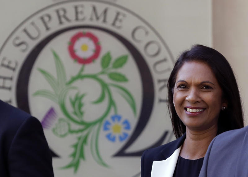 Ant-Brexit campaigner Gina Miller leaves the Supreme Court in London, Wednesday, Sept. 18, 2019. The Supreme Court is set to decide whether Prime Minister Boris Johnson broke the law when he suspended Parliament on Sept. 9, sending lawmakers home until Oct. 14 — just over two weeks before the U.K. is due to leave the European Union. (AP Photo/Kirsty Wigglesworth)