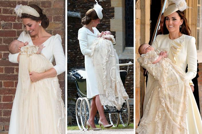 """<p><a href=""""https://www.townandcountrymag.com/society/tradition/a22064592/british-royal-family-christening-gown-history/"""" rel=""""nofollow noopener"""" target=""""_blank"""" data-ylk=""""slk:The Honiton christening gown"""" class=""""link rapid-noclick-resp"""">The Honiton christening gown</a> is the royal hand-me-down to end all royal hand-me-downs. A replica of the christening gown Queen Victoria had made for her firstborn, which would go on to be worn by 62 royal babies over the course of its 163 years of royal service, this garment has been in use since 2008. In that time, several royal babies have been baptized in it—including, of course, the Duchess of Cambridge's three children.<br></p>"""