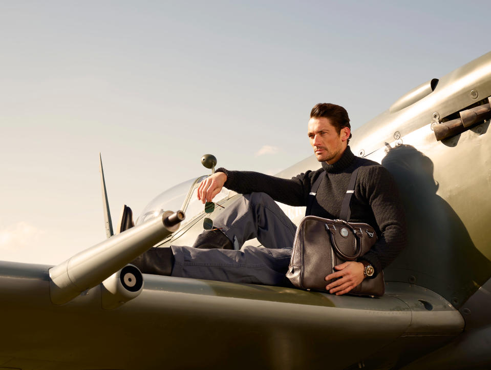 David Gandy poses on a Spitfire for his new Aerodrome Collection designed with Aspinal of London [Photo: Andy Barnham]