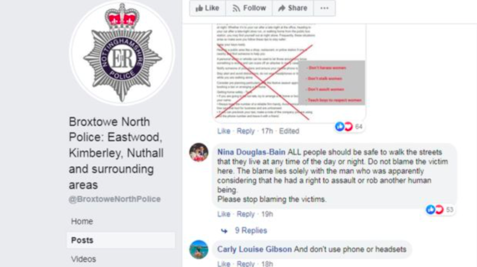 One Facebook user crossed out the post in protest at what had been written (Facebook)