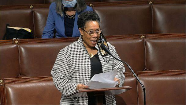 Rep. Marcia Fudge, D-Ohio, speaks on the floor of the House of Representatives at the U.S. Capitol in Washington on April 23, 2020. (House Television via AP)