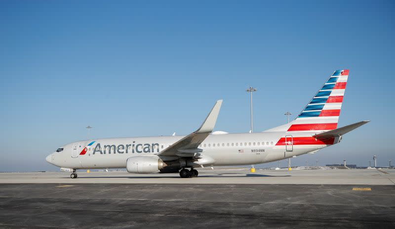 An American Airlines jet taxis from the new Central Deicing Facility (CDF) at O'Hare International Airport in Chicago