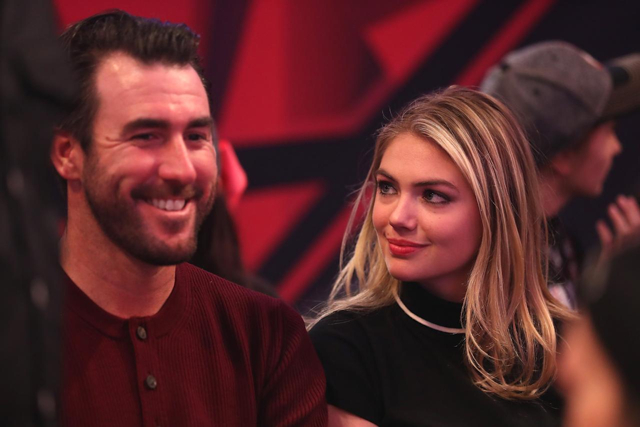 <p>Justin Verlander and Kate Upton during the 65th NBA All-Star Game at the Air Canada Centre in Toronto. February 14, 2016. </p>