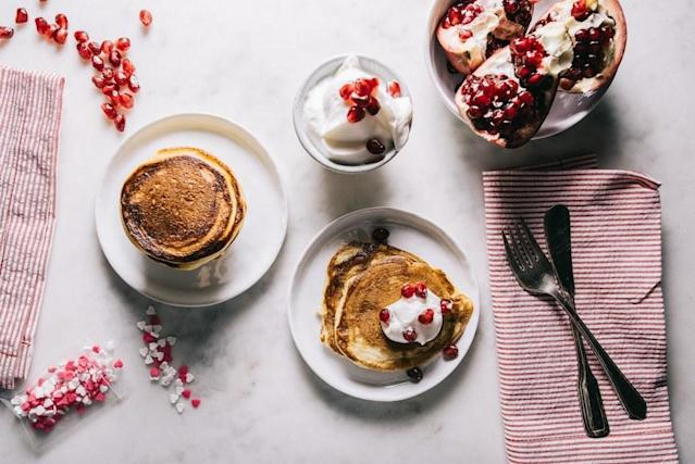 """<p>That post-pancake lethargy is all too real (brunchers, you know what I mean), but adding in skyr's protein and cutting back on the sugar will help curb the crash. Get the recipe <a href=""""http://iamafoodblog.com/greek-yogurt-pancakes?mbid=synd_yahoofood"""" rel=""""nofollow noopener"""" target=""""_blank"""" data-ylk=""""slk:here"""" class=""""link rapid-noclick-resp"""">here</a>.</p>"""