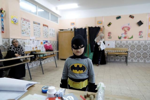 <p>A boy in a Batman costume stands at a polling station during the parliamentary election, in Algiers, May 4, 2017. (Photo: Zohra Bensemra/Reuters) </p>