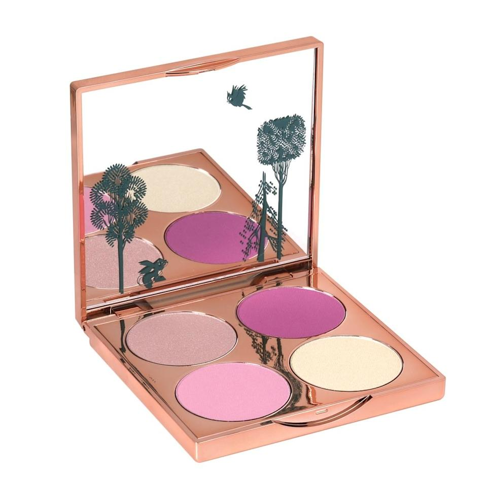 "<p>The four shades featured in this blush and highlighter palette came straight from Disney's ink and paint departments. Clockwise from the top left, the Briar Rose Blush Palette contains a subtly shimmering peach, a bright coral, a sparkling champagne, and a neutral pale pink.</p> <p><strong>$35</strong> (<a href=""https://besamecosmetics.com/collections/sleeping-beauty/products/briarroseblushpalette"" rel=""nofollow"">Shop Now</a>)</p>"