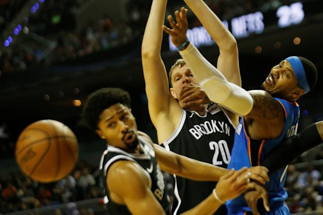 Basketball - NBA Global Games - Brooklyn Nets v Oklahoma City Thunder - Arena Mexico, Mexico City, Mexico December 7, 2017. Timofei Mozgov , Spencer Dinwiddie of Brooklyn Nets and Camelo Anthony of Oklahoma City Thunder in action. REUTERS/Carlos Jasso